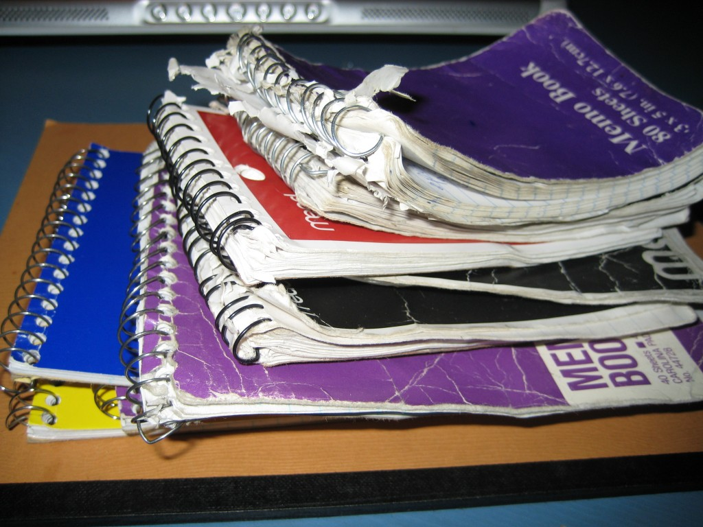writer's notebook pile